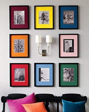 Colorful frames with B&W pictures