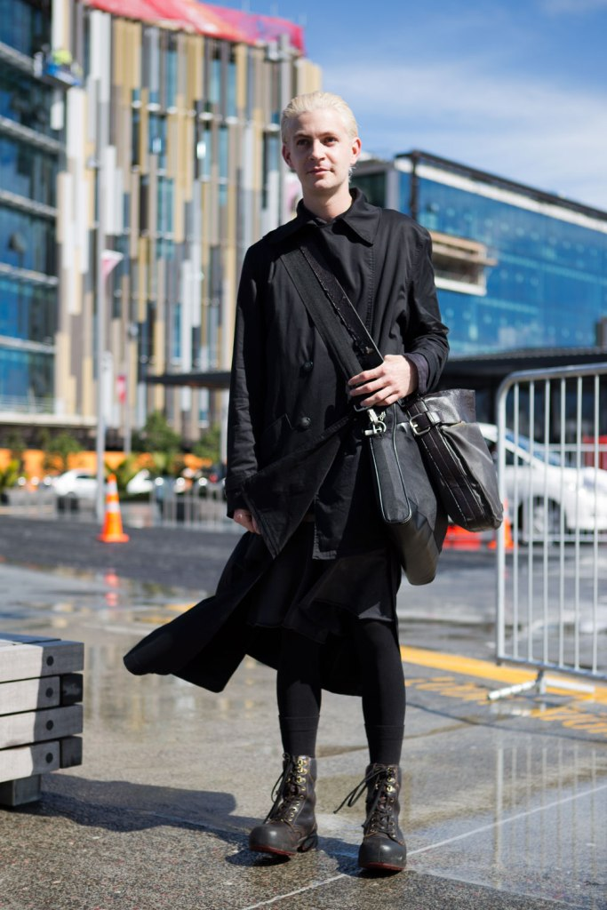 Layered look consisted of a coat by Ann-Sofie Back, a shirt by Gareth Moody and shorts by Bassike. We also loved the chunky toe of his black boots.