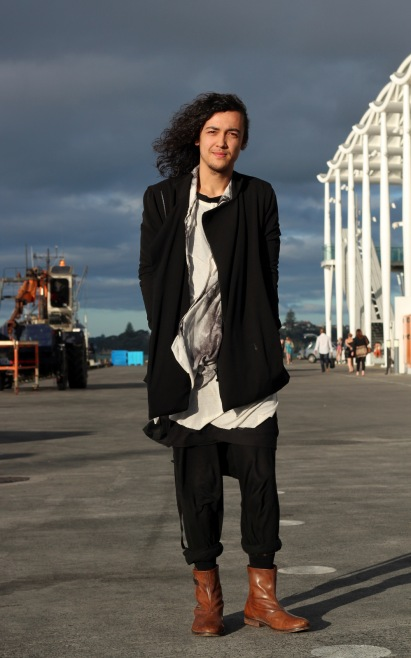 Jack in Rick Owens tank top, Ann Demeulemeester top and Damir Doma shirt, with a Rad Hourani jacket. Jack's pants are also by Rick Owens and his boots by Ksubi.