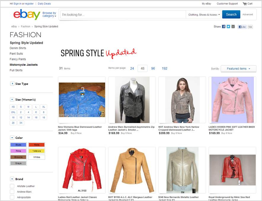 Search results on woman cloths section - new ebay interface - what's the difference?