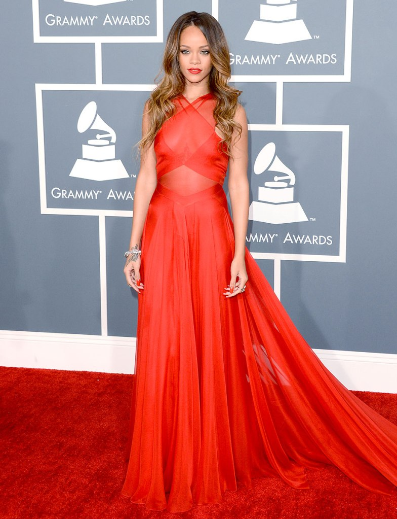Rihanna wearing red Valentino gown at the Garmmy awards 2013