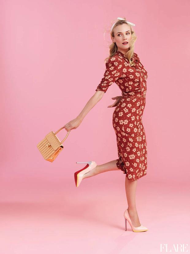 Diane Kruger on the cover of Flare magazine wearing Bottega Veneta