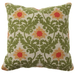Villa Home - Tuscan Green Verdure Embroidered Throw Pillow